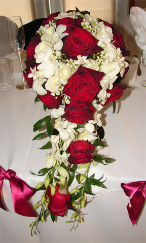 Red and white cascading bouquet
