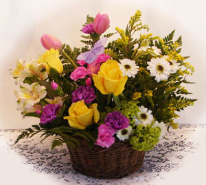 Summer theme arrangement in a basket
