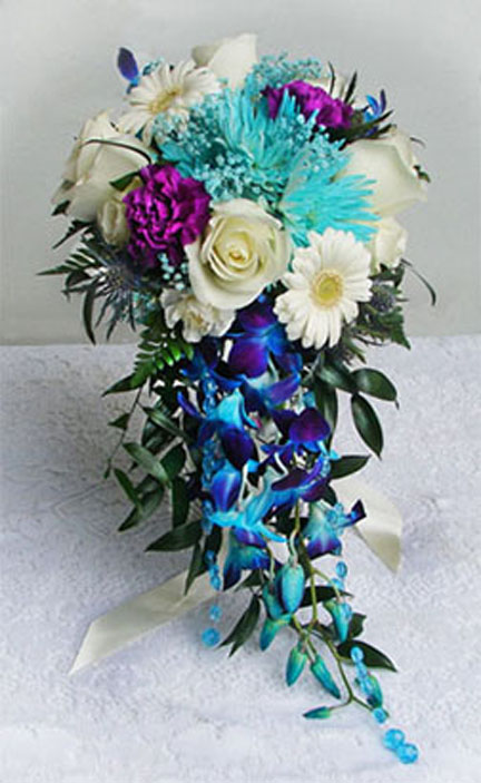 Blue cascading bouquet